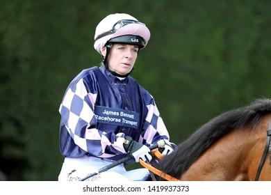 NOTTINGHAM RACECOURSE, NOTTINGHAM, UK : 11 MAY 2019 : Jockey Rachel Kneller at Nottingham Races