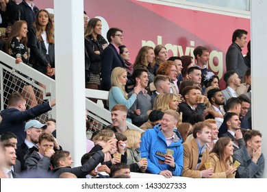 NOTTINGHAM RACECOURSE, NOTTINGHAM, UK : 13 JUNE 2019 : Students from Nottingham Trent and Loughborough University packed into the Grandstands during the Student Meet at Nottingham Races