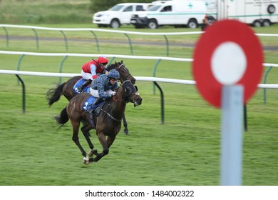 NOTTINGHAM RACECOURSE, NOTTINGHAM, UK : 16 JULY 2019 : Young jockey Cieren Fallon winning on Make Good and in the process rides a treble at Nottingham Races