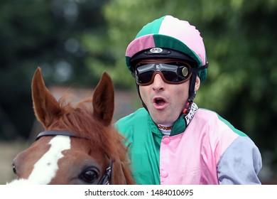 NOTTINGHAM RACECOURSE, NOTTINGHAM, UK : 19 JULY 2019 : Jockey Dougie Costello at Nottingham Races