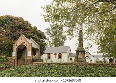 NOTTINGHAM ROAD, SOUTH AFRICA - MARCH 22, 2018: The St John's Gowrie Presbyterian Church, built 1885, in Nottingham Road, in the Kwazulu-Natal Midlands Meander