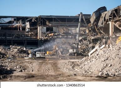 Nottingham, UK 02/21/2019 Demolition dust damping down system in action