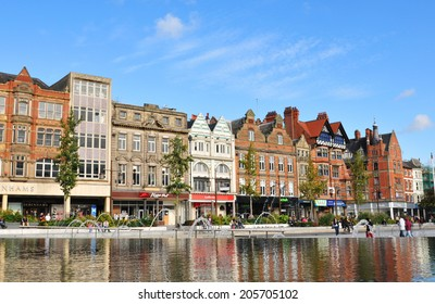 Nottingham, UK - 14 October, 2012: View of the Old Market Square, major cultural and touristic landmark in Nottingham