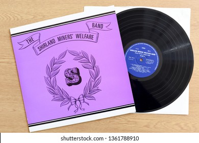Nottingham, UK. April 07th 2019. A rare copy on vinyl of The Shirland Miners' Welfare Band brass music pressed in 1976 on PYE records.