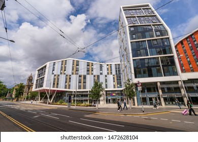 Nottingham, UK - August 07 2019: Trent University Student Union, Nottingham, England, UK. Nottingham is known for its links to the legend of Robin Hood and lace-making, bicycle and tobacco industries.