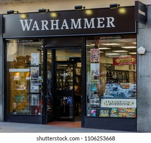 Nottingham, UK: February 7, 2018: The Warhammer Games Workshop store on Friar Lane Nottingham. Warhammer are specialist reatilers of fantasy board games and figures.