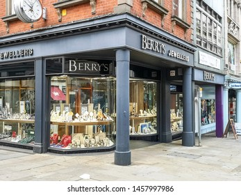 NOTTINGHAM, UK -  JULY 15, 2019:  View of an jewelry shop on the corner of Victoria Street, Nottingham, Nottinghamshire, England, UK,