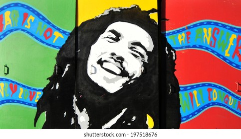 NOTTINGHAM, UK - OCTOBER 23, 2010: Graffiti portrait of Bob Marley, a famous Jamaican reggae singer-songwriter and guitarist.