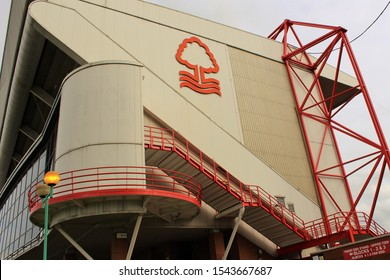 Nottingham, UK - October 5th 2019: View of one side of the Trent End stand of the City Ground, home stadium of Nottingham Forest F.C, taken on the match day versus Brentford F.C.