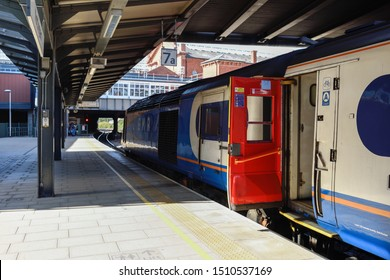 Nottingham, UK, September 21st 2019. First class carriages on a East Midlands Train waits on platform 7a at Nottingham Train and  station departing for London.