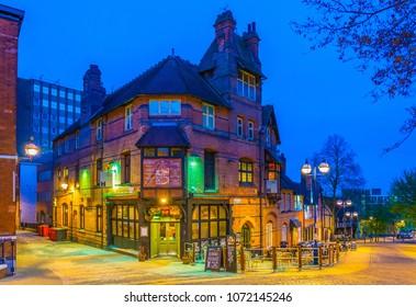 NOTTINGHAM, UNITED KINGDOM, APRIL 10, 2017: Night view of a pub in Nottingham, England