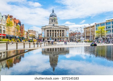 NOTTINGHAM, UNITED KINGDOM, APRIL 11, 2017: View of the town hall in Nottingham, England