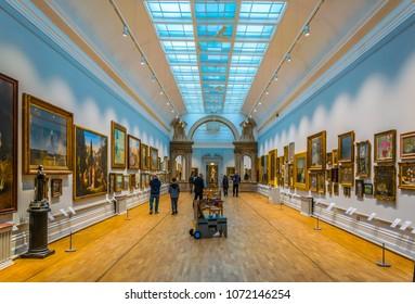 NOTTINGHAM, UNITED KINGDOM, APRIL 11, 2017: Interior of a gallery inside of the Nottingham castle, England