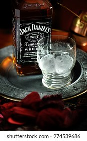 NOTTINGHAM, UNITED KINGDOM - APRIL 30, 2015: Jack Daniel's whiskey bottle and glass. Jack Daniel's is a brand of sour mash Tennessee whiskey and the highest selling American whiskey in the world.