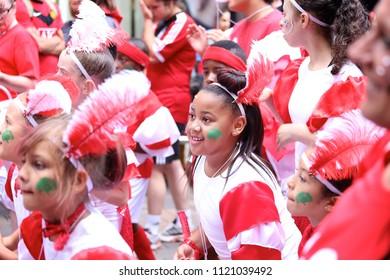 NOTTINGHAM, UNITED KINGDOM - August 17, 2014 : people in fancy costume, Nottingham Caribbean Carnival parade (public access) in Nottingham, United Kingdom
