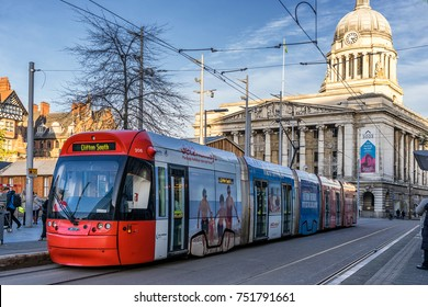 Nottingham,England on 9th Nov 2017:Nottingham Express Transit (NET) is a 32-km tram system in Nottingham. The system opened to the public in 2004 and a second phase, phase more than doubled the system