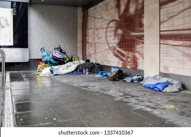 Nottingham,England, UK. March 12th 2019. Homelessness is  a growing problem on the streets of the UK. More people are now sleeping and living rough than at any time in the past creating social issues