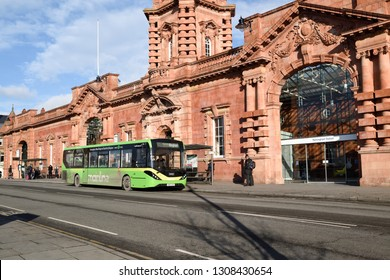 Nottingham,England,UK. February 02nd 2019. City bus picks up passengers waiting outside Nottingham East Midlands Train Station.