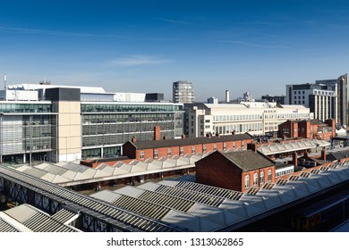 Nottingham,England,UK. February 14th 2019. Views across Nottingham Tram and Train station.Nottingham transport infrastructure is one of the best in England looking to reduce emissions and car journeys