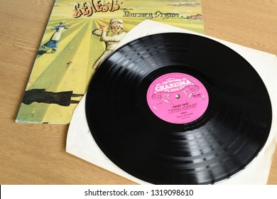 Nottingham,England,UK. February 21st 2019. Long playing vinyl becoming more popular so album are rare and demanding a higher price for original pressing. Genesis Nursery Crime on pink scroll label.