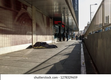 Nottingham,England,UK. January 08th 2019. Homeless people sleep on the city centre streets of Nottingham in the East Midlands of England. Government figures showing more people are no sleeping rough.