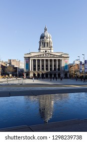 Nottingham,UK. January 28th 2019. Views across the largest open market square in England with the city council building and rows of city shops.