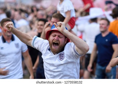 Nottingham,UK. July 11th 2018.Disappointment for England football supporters who  watch thier team get knocked out of the World cup by  Croatia losing 2-1. Supporters show thier despair.