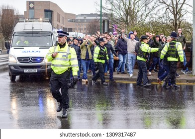 Nottingham,UK  March :18th   2017.Championship league derby game,Derby county fans escorted to the ground via Police ahead of today's game against arch rivals Nottingham Forest .