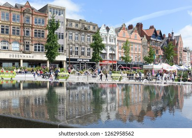 Nottingham,UK:July 02nd 2017: Continental food and flower market on the old market square in the city centre attracts tourist and shoppers in the summer sunshine .
