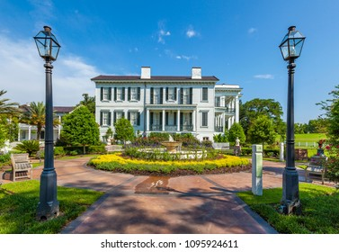NOTTOWAY, USA - JULY 14, 2013: old historic entrance of Nottoway plantation. The Plantation serves as museum nowadays,