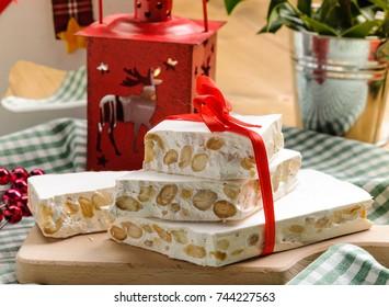 Nougat, Christmas cake, selective focus