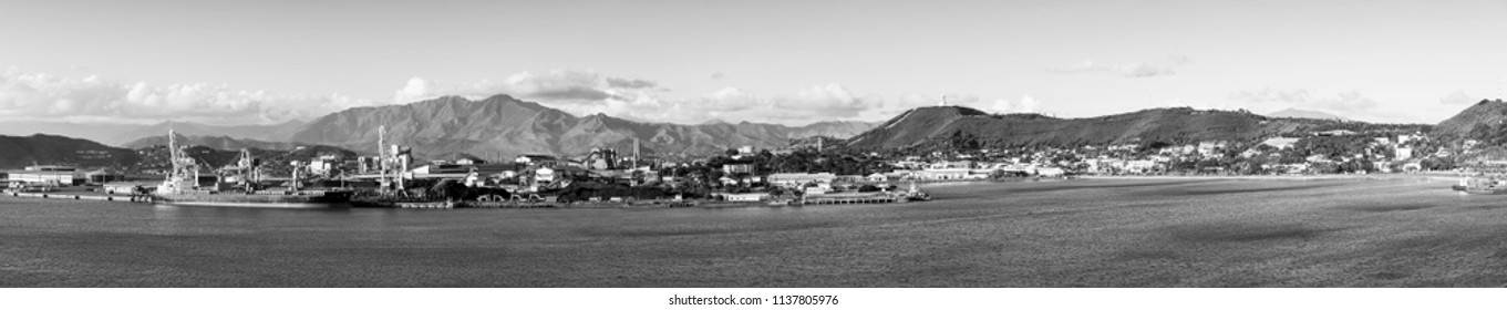 Noumea, capital of New Caledonia panoramic view from the bay in black and white