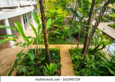 Noumea, New Caledonia -August 3, 2019: View from above of the internal coutyard with the tropical garden at Le Meridien Hotel in Noumea, French Polynesia, South Pacific.
