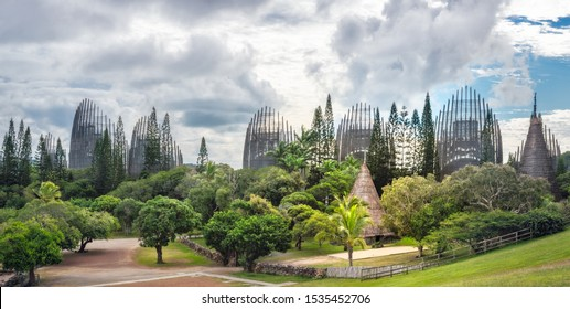 Noumea, New Caledonia -August 4, 2019: Tjibaou Cultural Centre, a Kanak native museum, made mainly of ten ribbed structures made of steel and Iroko wood, inspired by the form of traditional Kanak huts