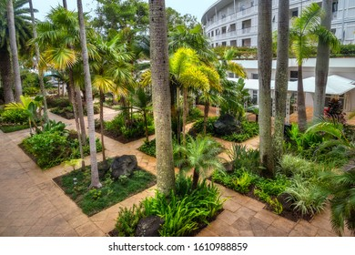 Noumea, New Caledonia -August 5, 2019: View from above of the internal coutyard with the beautiful tropical garden after rain at Le Meridien Hotel in Noumea, French Polynesia, South Pacific.