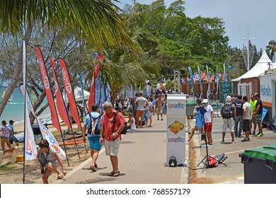 Noumea, New Caledonia - November 25, 2017: Supporters and fans of Wind Surfing at Noumea Dream Cup.