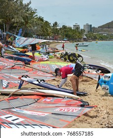 Noumea, New Caledonia - November 25, 2017: Competitors at the 2017 Noumea Dream Cup Windsurfing championship