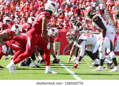 Nov 10, 2019; Tampa, FL USA;  An overview of the line of scrimmage during an NFL game between the Tampa Bay Buccaneers and the Arizona Cardinals at Raymond James Stadium.