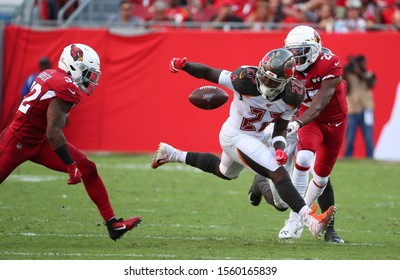Nov 10, 2019; Tampa, FL USA;  Tampa Bay Buccaneers running back Ronald Jones (27) loses the handle on the ball and fumbles.
