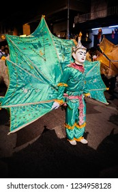 NOV 17, 2013 Chiang Mai, Thailand - Traditonal cultural Tai Yai style Kinnari bird (Ging Gala Bird) dance with heaven bird costume and mask in Loy Krathong festival