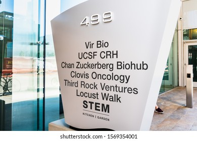 Nov 17, 2019 San Francisco / CA / USA - Modern office building in Mission Bay, home of several Companies operating in healthcare related fields (Vir Bio, Chan Zuckerberg Biohub, Clovis Oncology etc.)