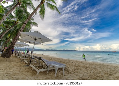 Nov 18,2017 tourist walking at beautiful white beach in Boracay, Philippines