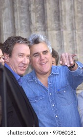 Nov 19, 2004; Los Angeles, CA:  Comedian TIM ALLEN (left) & TV chat show host JAY LENO on Hollywood Boulevard where Allen was honored with the 2,270th star on the Hollywood Walk of Fame.