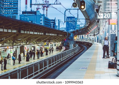 Nov 2 2016, Tokyo Japan: - Japanese People wait on the platform in Tokyo shinkansen station. shinkansin or the bullet train is the fast train go out from Tokyo station in Japan.