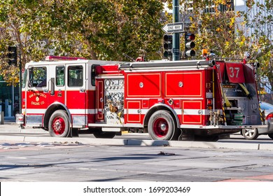 Nov 2, 2019 San Francisco / CA / USA - Firefighter engine driving on a street in Mission Bay District