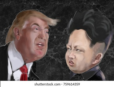 nov 2017 - Donald Trump 45th President of United States of America Vs Kim Jong-un  Korean Leader - Characters portraits