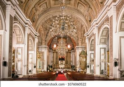 NOV 20,2012 , Manila, Philippines : Old historic beautiful ceiling fresco art of San Agustin Church