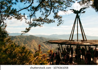 NOV 21, 2012 Baguio City, Philippines : Cordillera mountains viewed at Mines View Park with tourists in summer or spring time
