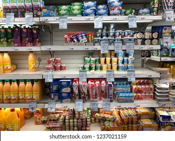 Nov 21/2018 groceries shelf of Giant supermarket at Jalan Membina street by night, Singapore