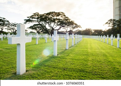 NOV 22, 2012 Manila, Philippines : Manila American Cemetery and Memorial. the largest number of graves of any cemetery for U.S. personnel killed during World War II.